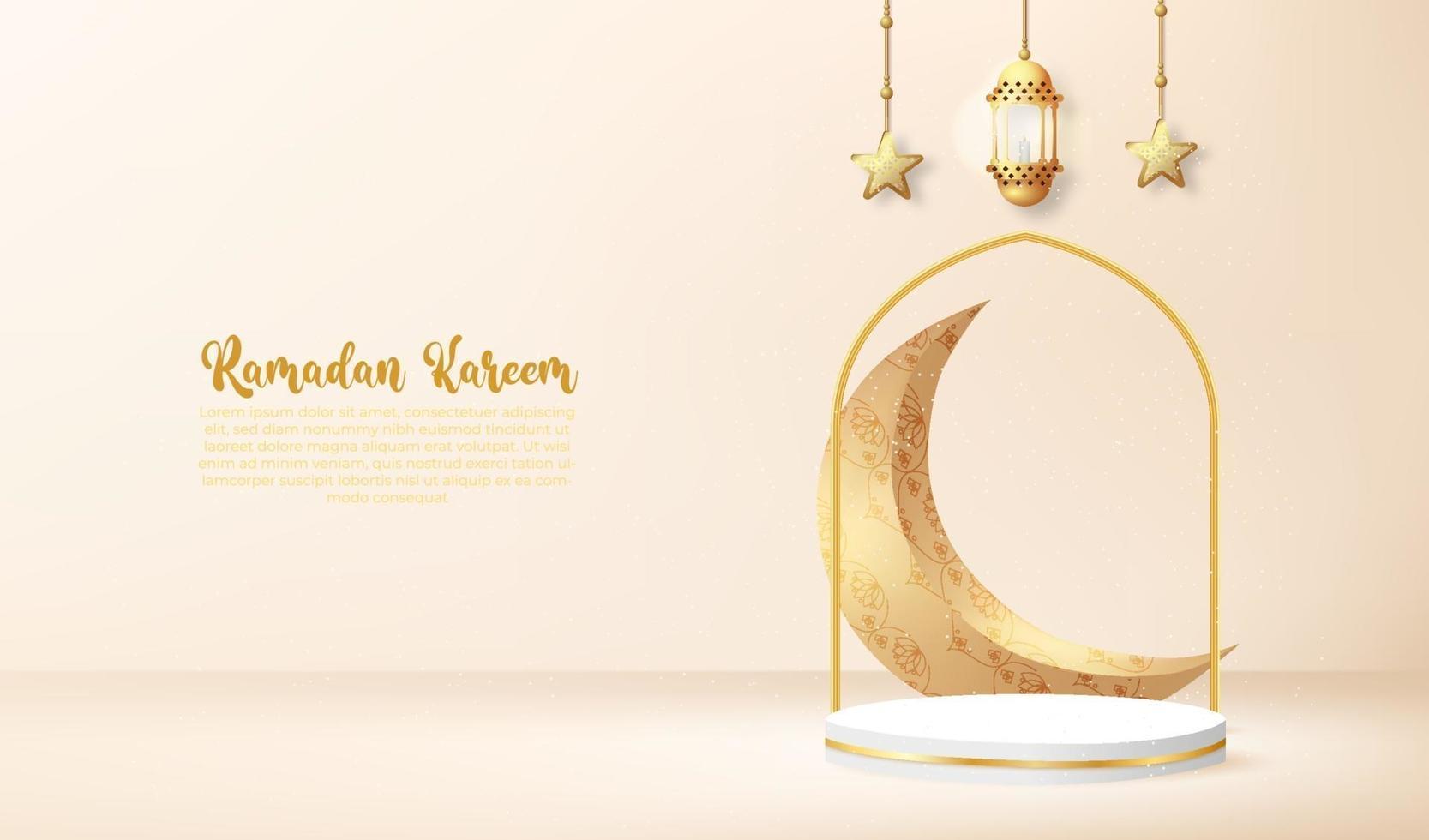 Fundo 3D Ramadan Kareem com lâmpada dourada e pódio. vetor