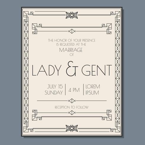 Vetor de convite de casamento Art Deco