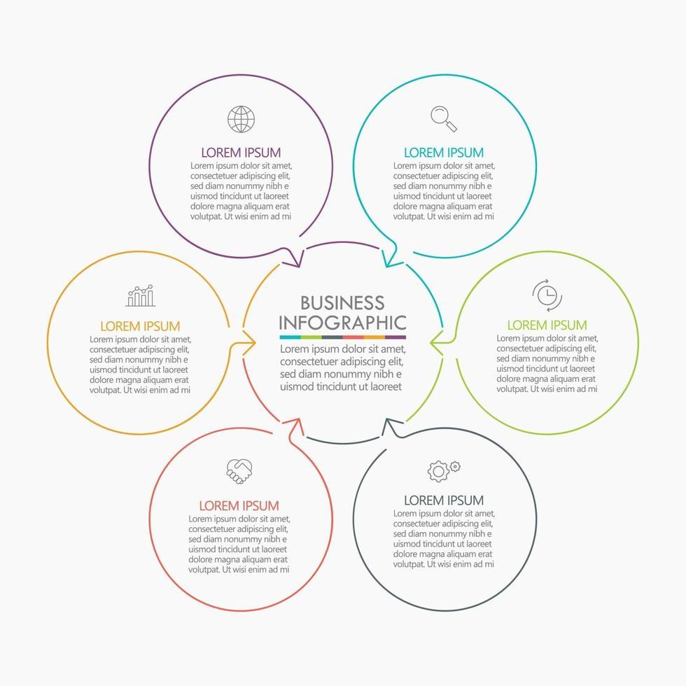 modelo de infográfico de seta de linha fina de círculo com 6 opções. vetor