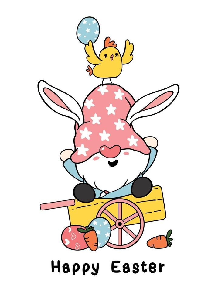 Desenhos animados de orelhas de coelho de gnomo da Páscoa bonito e bebê pinto amarelo no carrinho de madeira com ovos de Páscoa. feliz páscoa, fofo doodle vetor clip art primavera páscoa