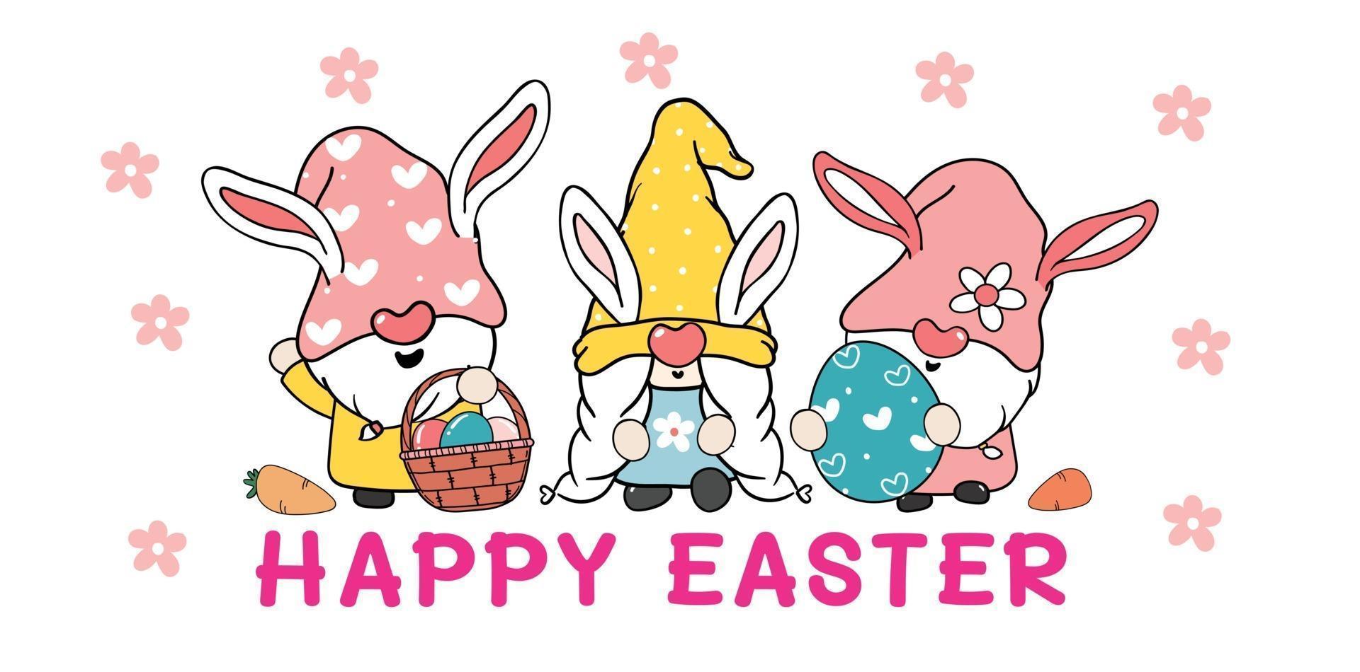 três gnomos fofos e doces coelhinhos da Páscoa com orelhas de coelho, banner de vetor de desenho animado feliz páscoa