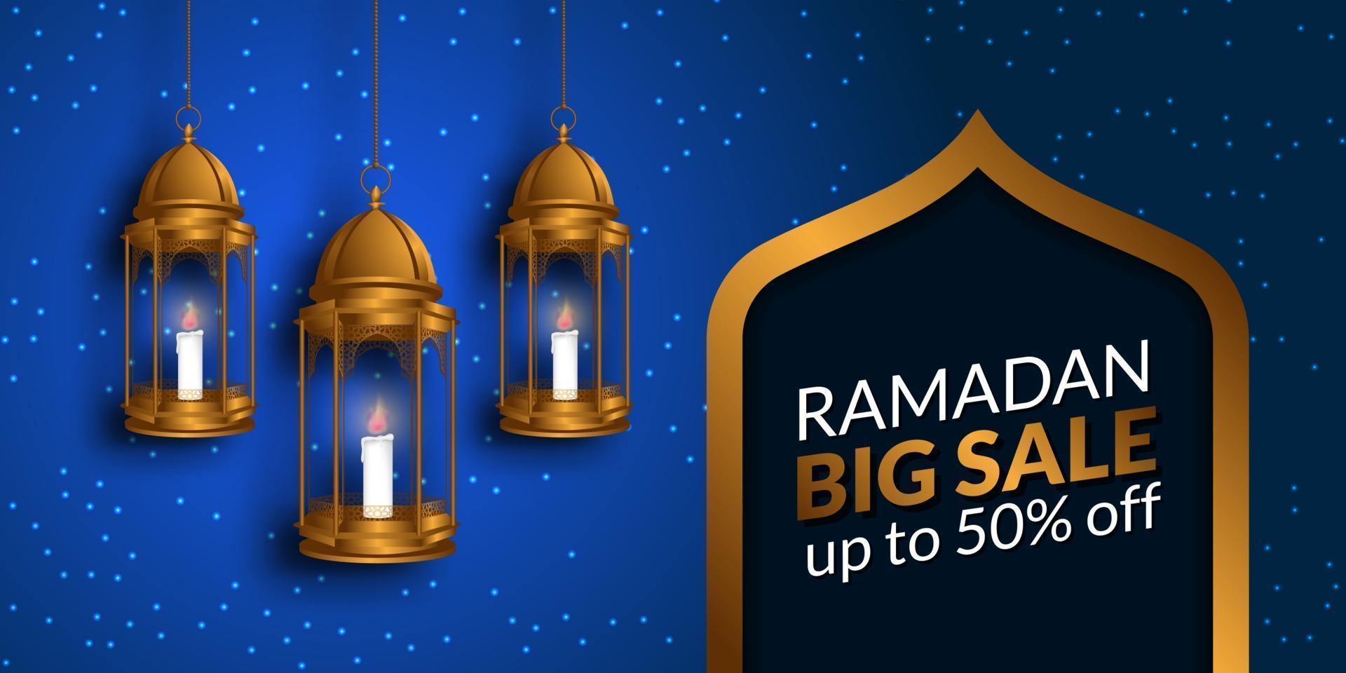 grande venda do mês de jejum sagrado do Ramadã para muçulmanos com ilustração de uma lanterna dourada pendurada vetor