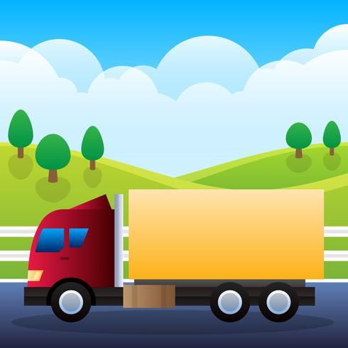 Caminhão de transporte para carga isolado na ilustração de fundo vetor