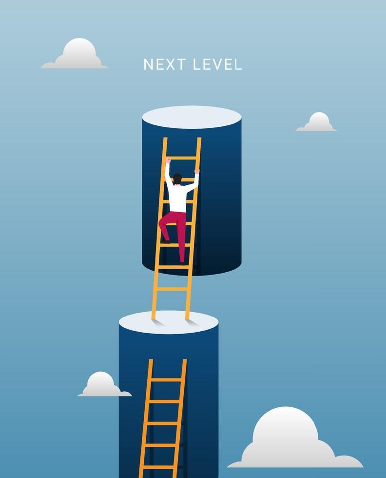 próximo nível para o conceito de sucesso. empresário escalando paredes duplas gigantes em direção ao céu com ilustração de escadas. vetor