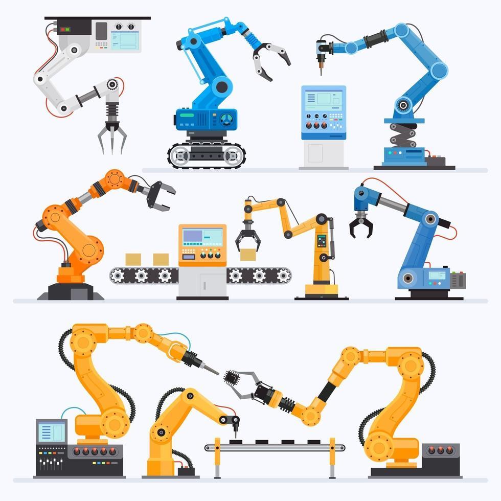 conjunto industrial braço robótico vetor