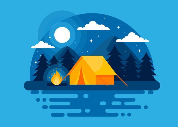 Vetor de acampamento de noite de verão