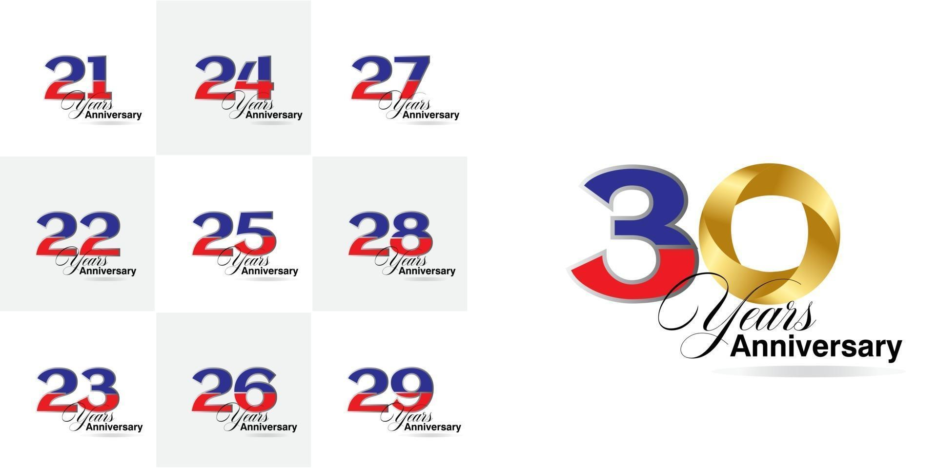 conjunto de números de aniversário de 21, 22, 23, 24, 25, 26, 27, 28, 29, 30 anos vetor