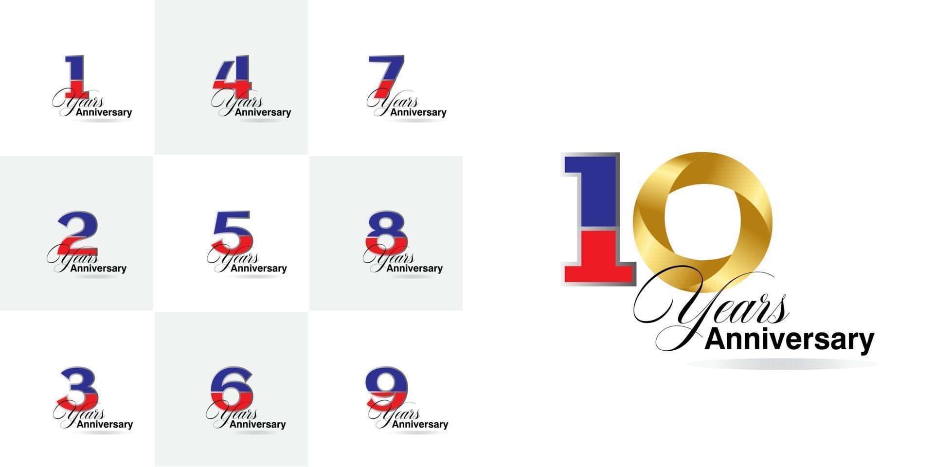 conjunto de números de celebração de aniversário de 1, 2, 3, 4, 5, 6, 7, 8, 9, 10 anos vetor