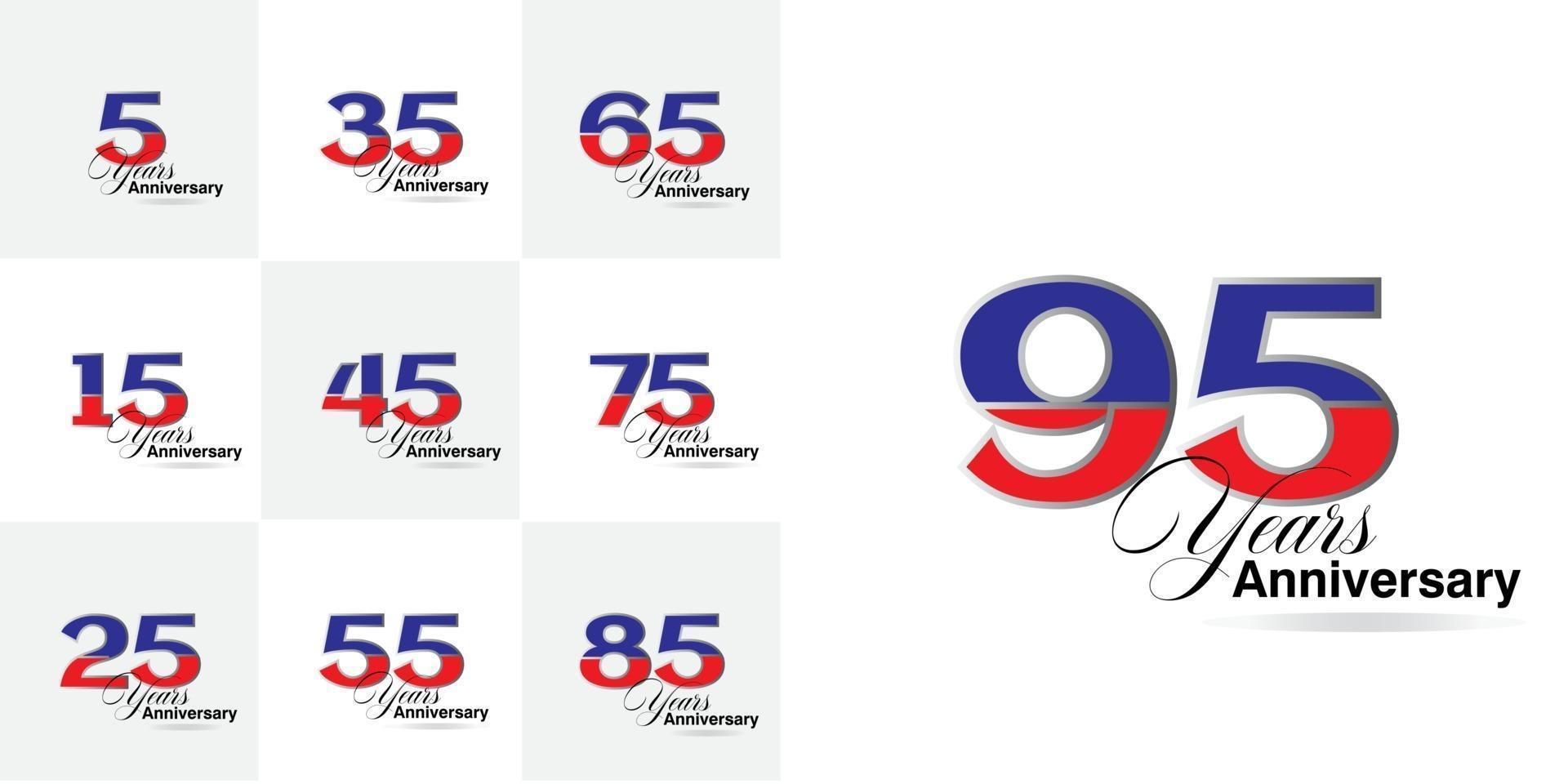 conjunto de números de celebração de aniversário de 5, 15, 25, 35, 45, 55, 65, 75, 85, 95 anos vetor