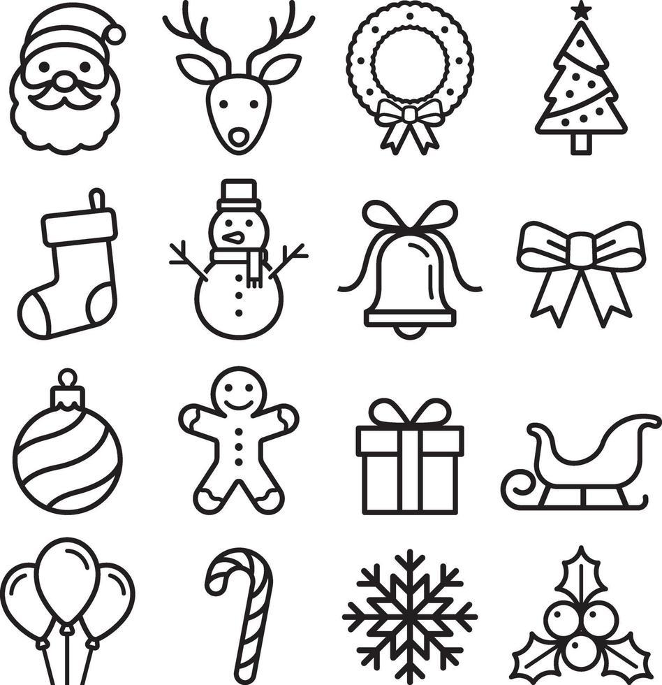 Conjunto de ícones de Natal. ilustração vetorial. vetor