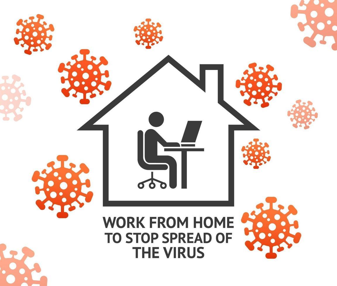 trabalhe em casa para impedir a propagação das ilustrações vetoriais de vírus. vetor