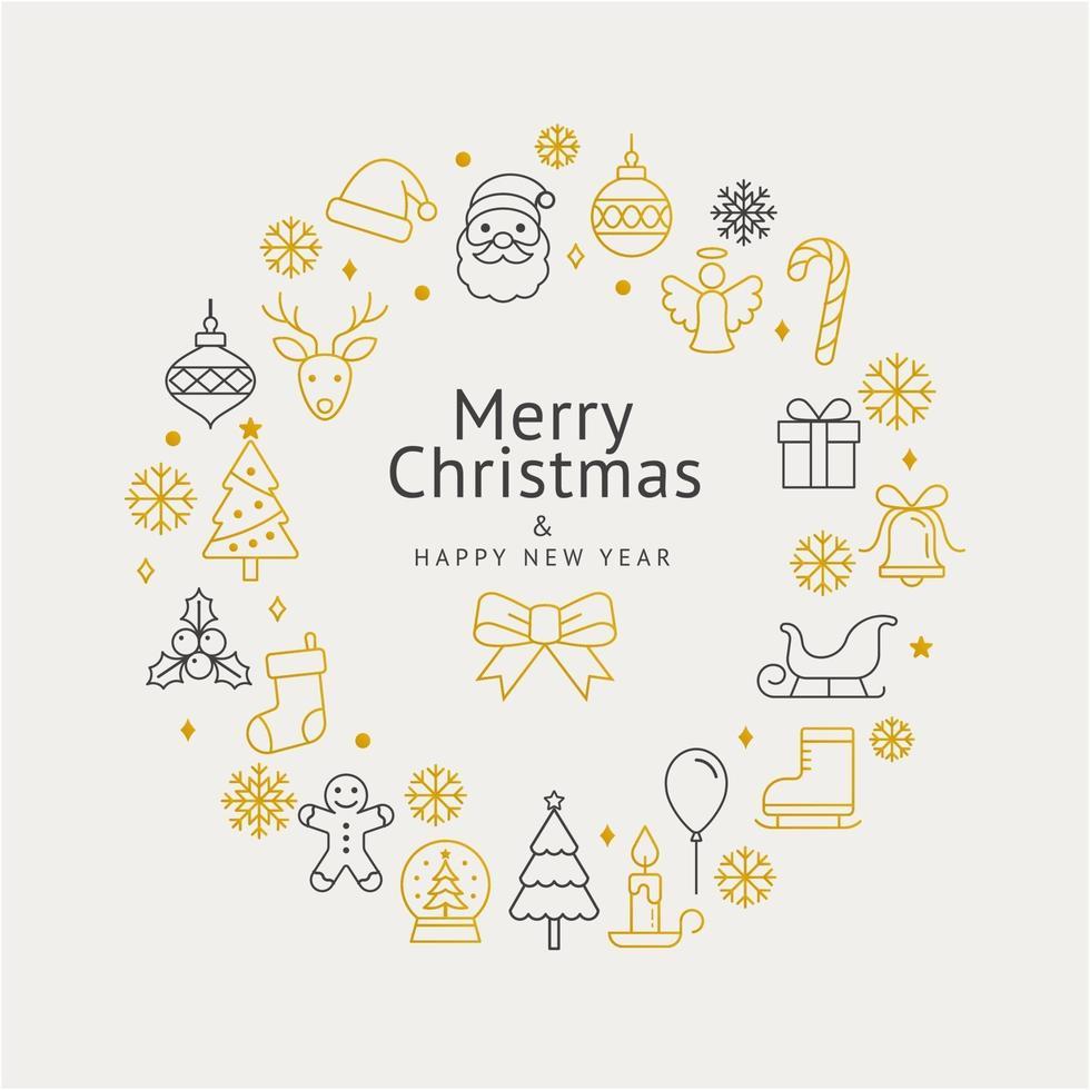 ícones de guirlanda de Natal e feliz ano novo. ilustrações vetoriais. vetor