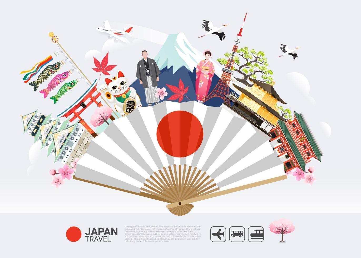 marcos famosos do japão em fundo de viagens de fãs vetor