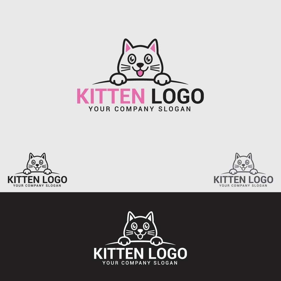 modelo de design de logotipo de gatinho vetor
