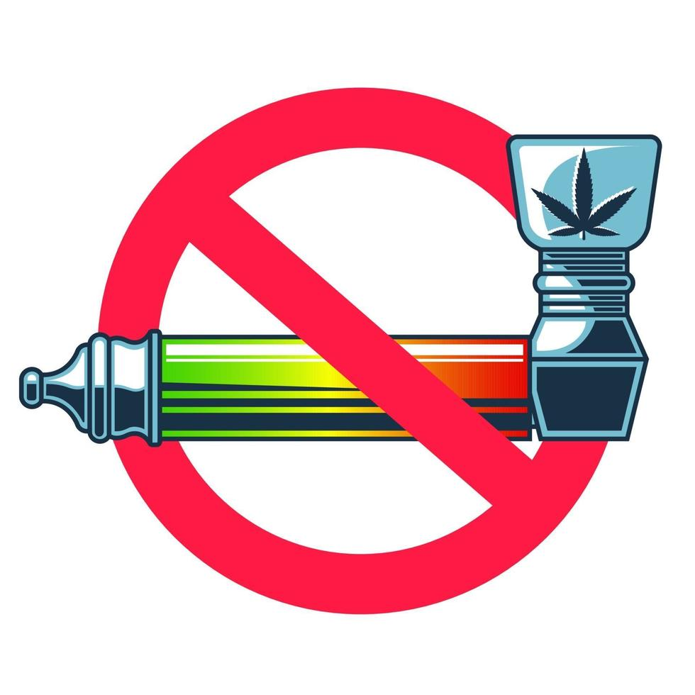 sinal proibido para fumar cachimbo para maconha. ilustração vetorial plana vetor