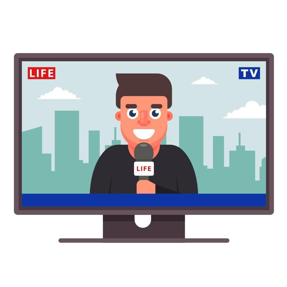 um correspondente da televisão está contando as notícias. jornalista alegre. ilustração vetorial plana vetor
