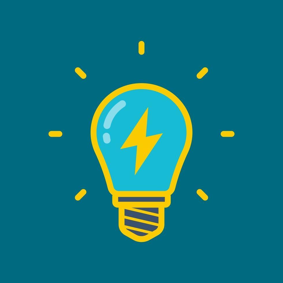 lâmpada amarela com um raio dentro em um fundo colorido. ilustração vetorial plana. vetor