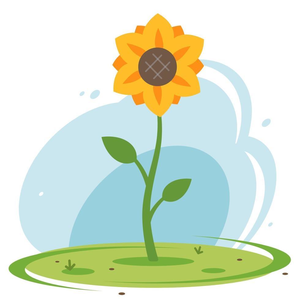 girassol amarelo em um prado verde contra o céu azul. ilustração vetorial plana vetor