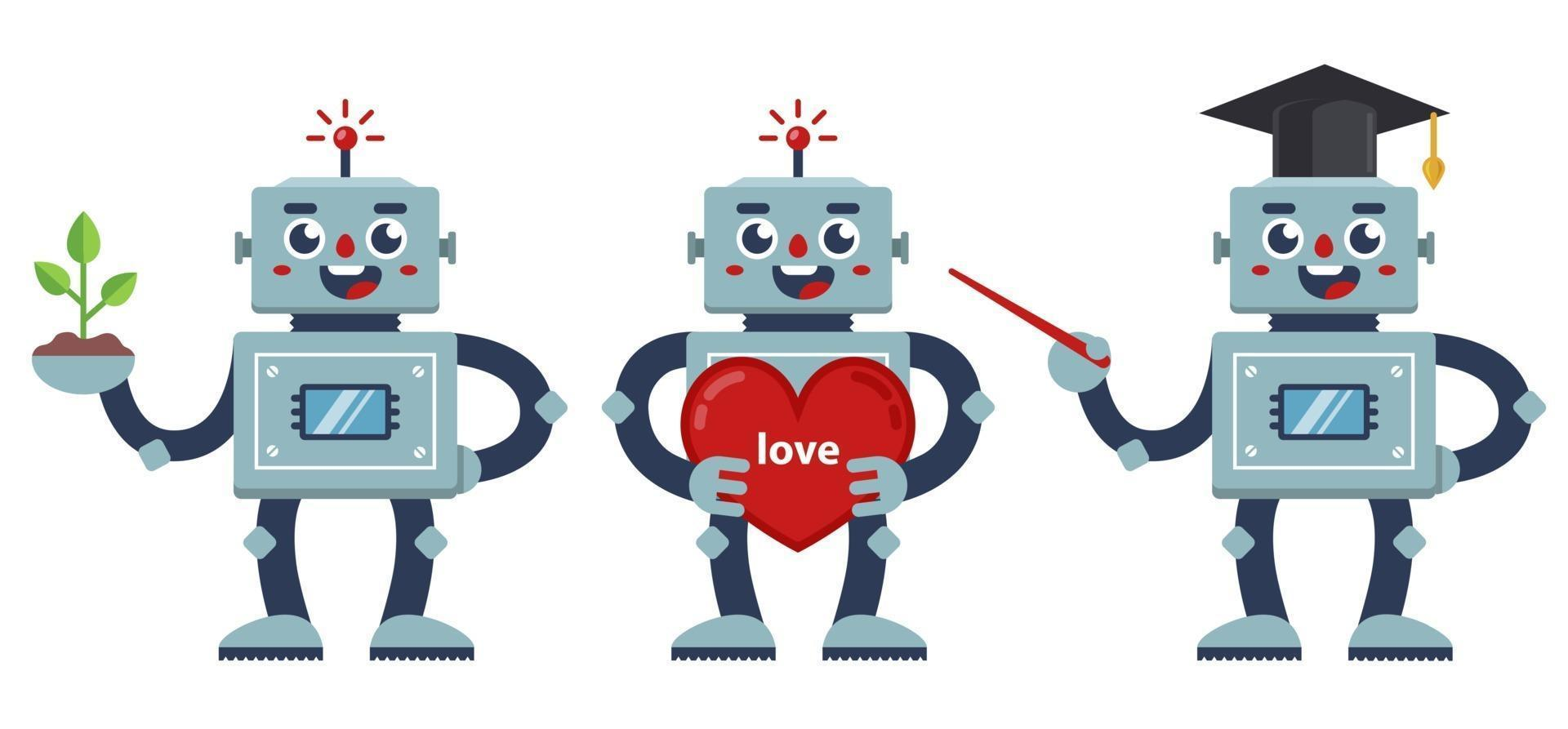 conjunto de robôs positivos. um professor robô, um robô nerd e um robô com um grande coração. ilustração de personagens de vetor plana.