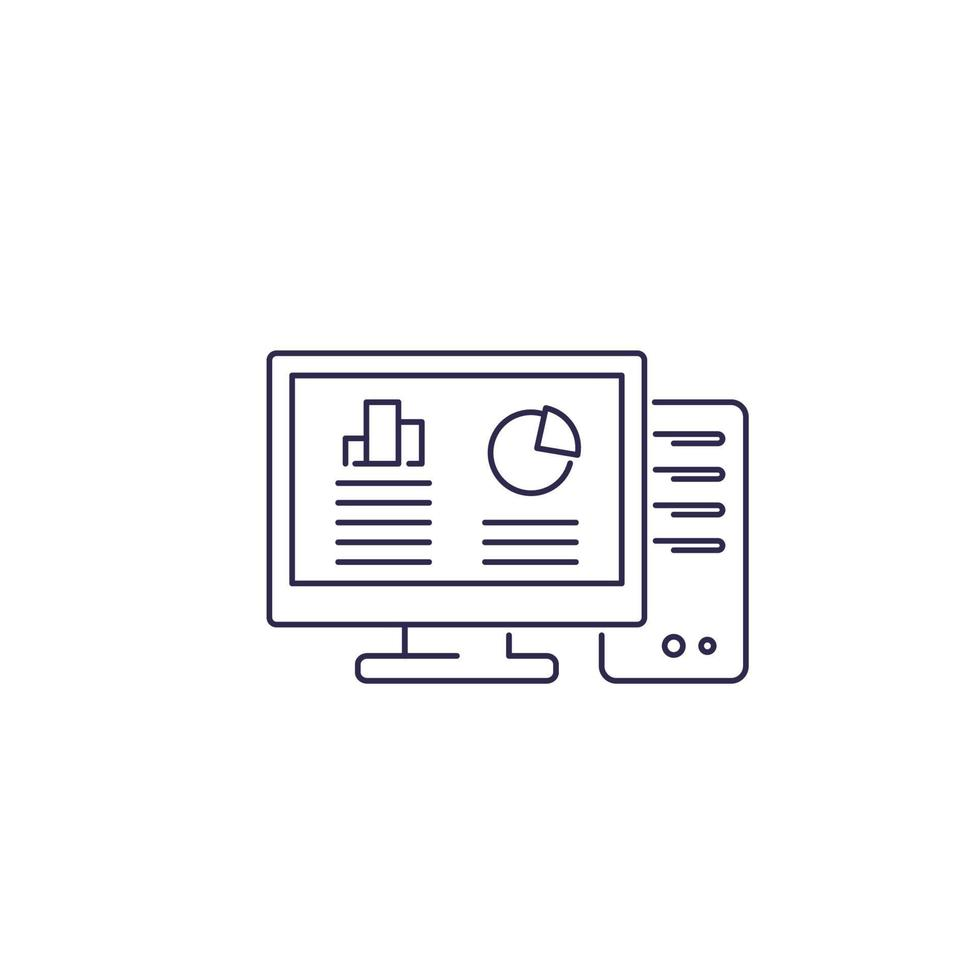 ícone da linha de computador da estação de trabalho em white.eps vetor