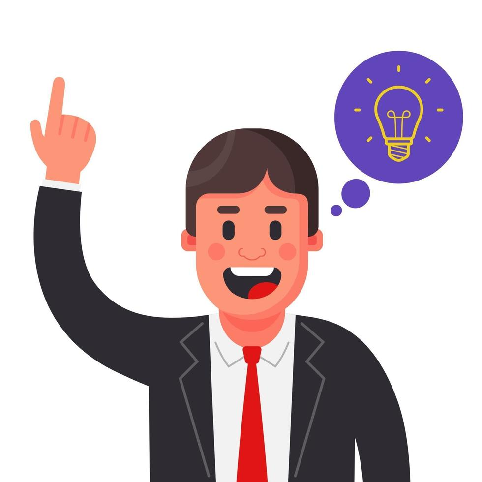 uma ideia brilhante surgiu para um homem de terno. levante sua mão. ilustração vetorial de personagem plana vetor