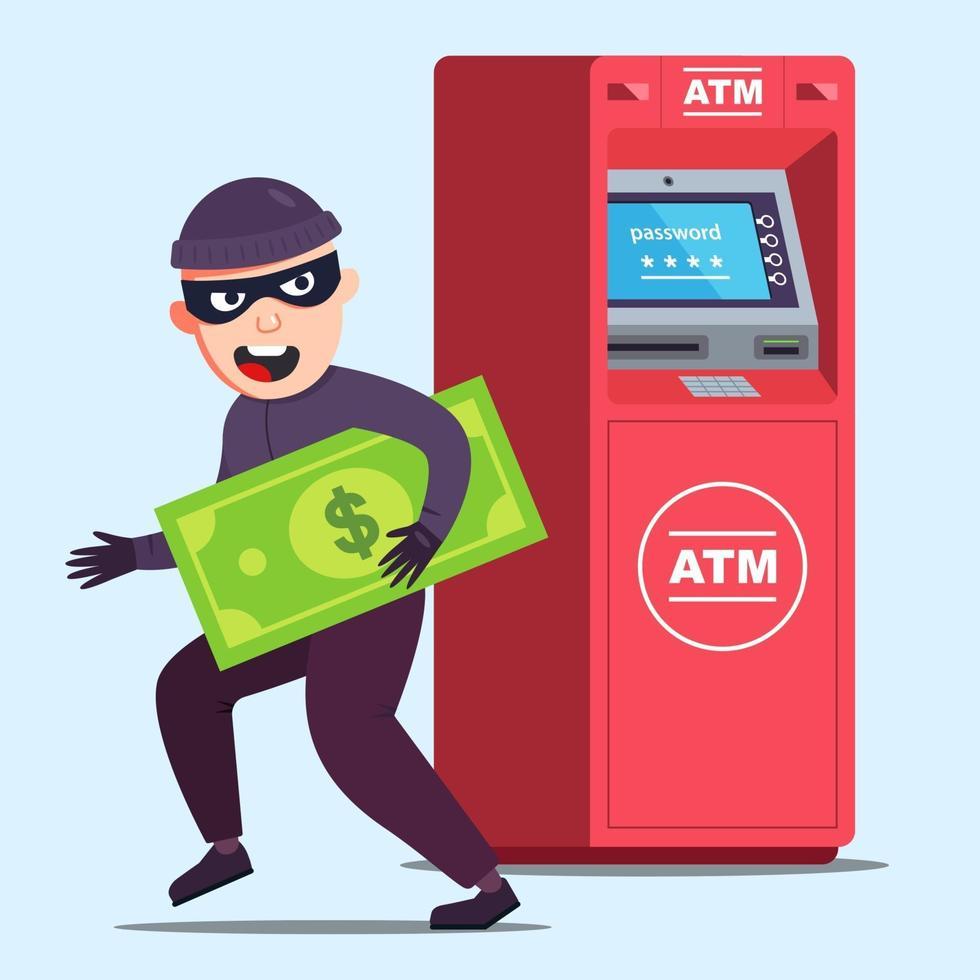 o ladrão roubou dinheiro de um caixa eletrônico. criminoso sortudo. ilustração em vetor personagem plana.