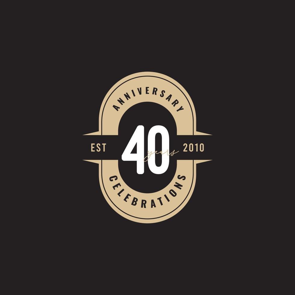 40 anos aniversário celebração número texto vetor modelo design ilustração