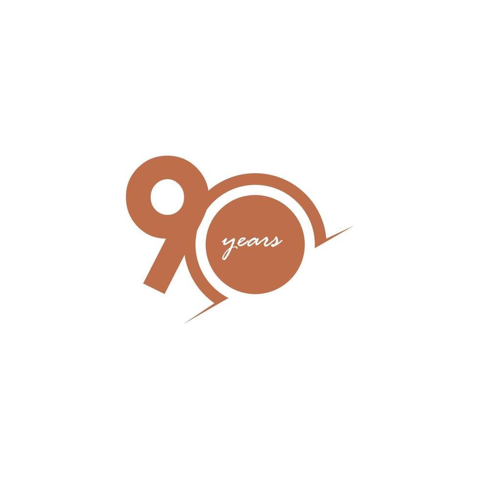 Ilustração de design de modelo de vetor de número de celebração de aniversário de 90 anos
