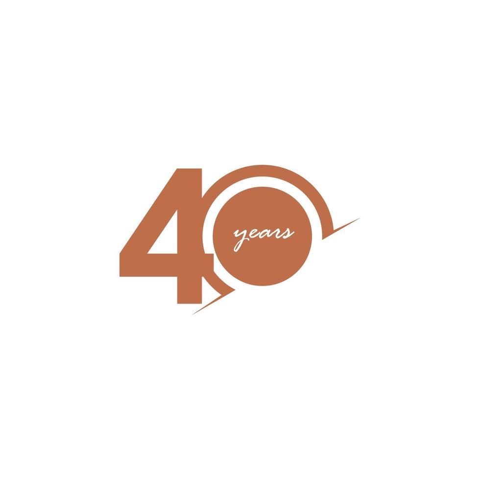 Ilustração de design de modelo vetorial 40 anos aniversário comemoração número vetor