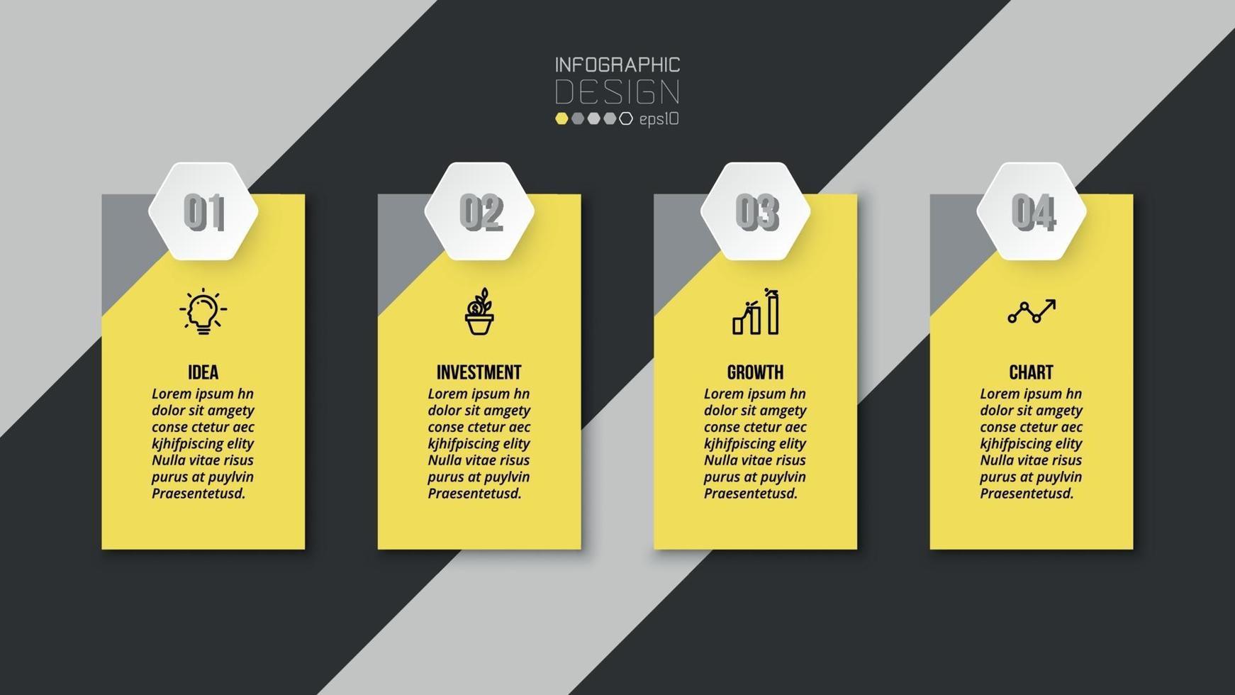 modelo de infográfico de negócios ou marketing com etapa. vetor