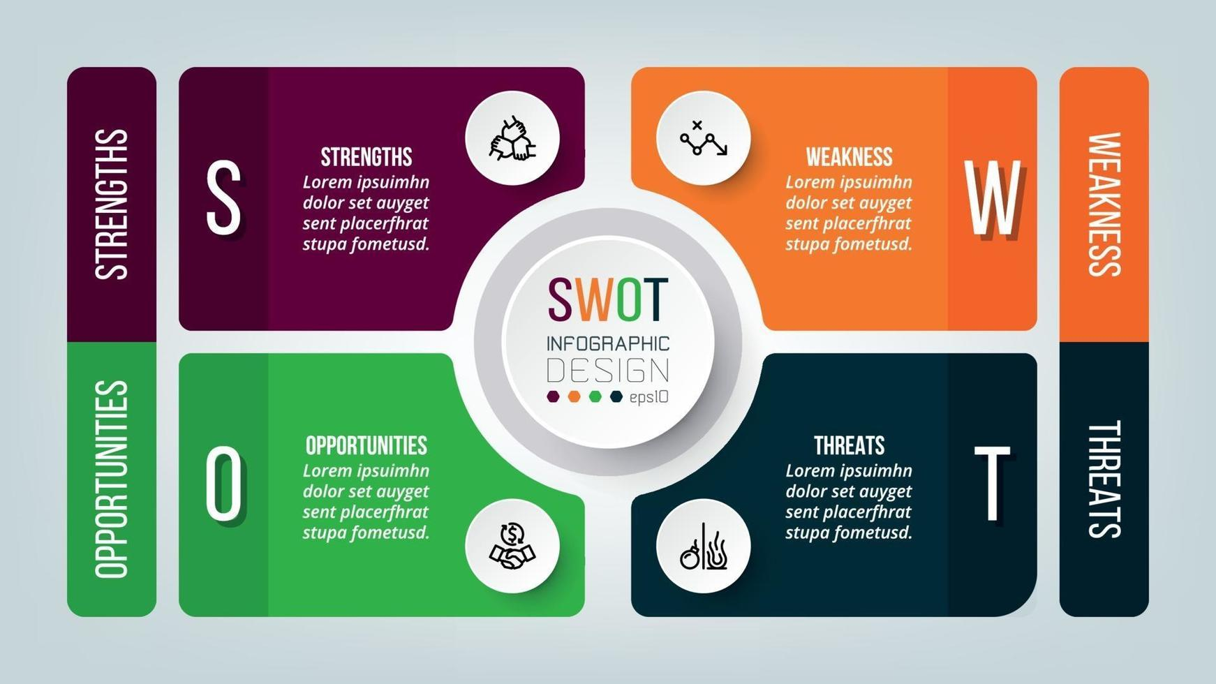 design de modelo de infográfico de swot de negócios. vetor
