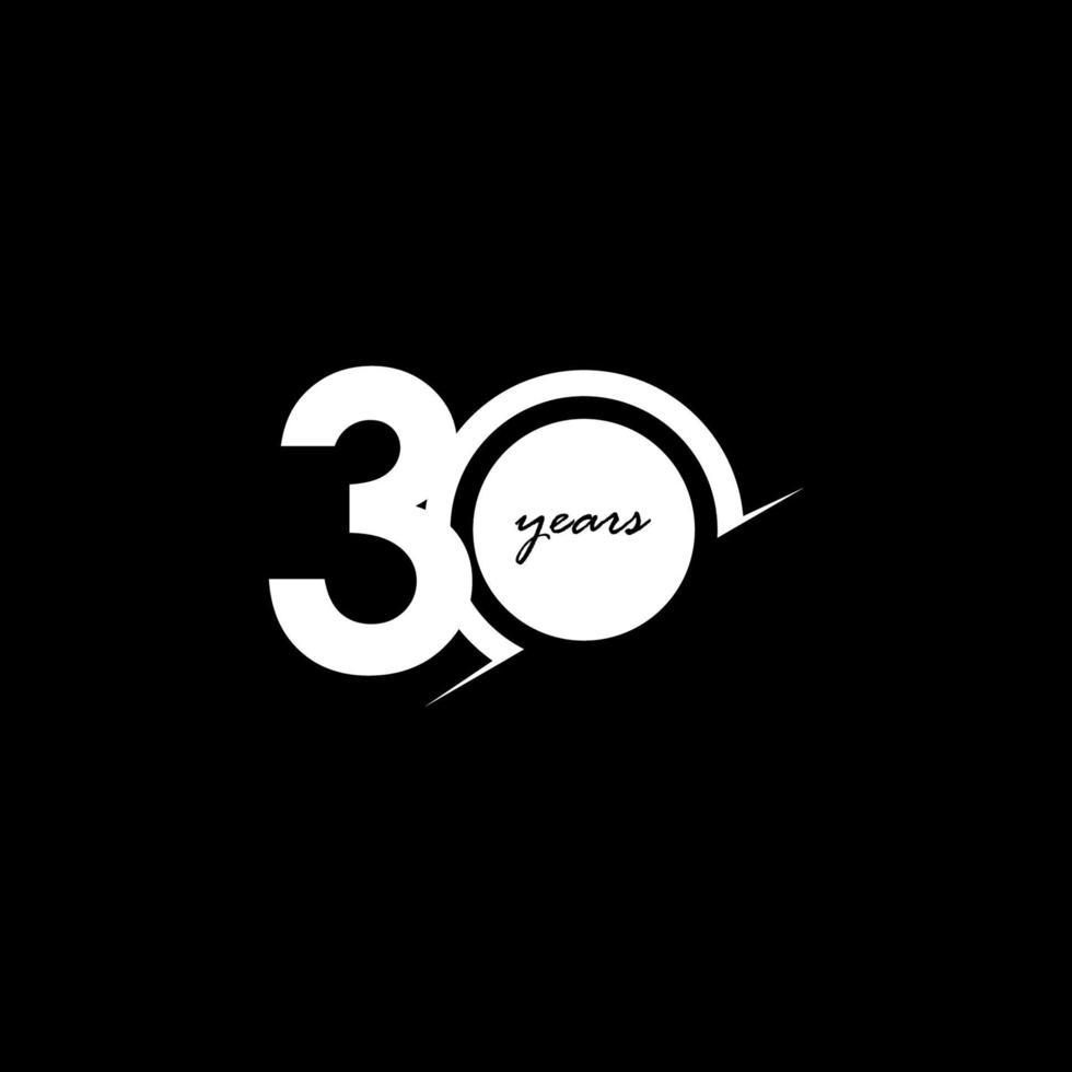 30 anos de comemoração de aniversário número branco e preto ilustração vetorial de design de modelo vetor