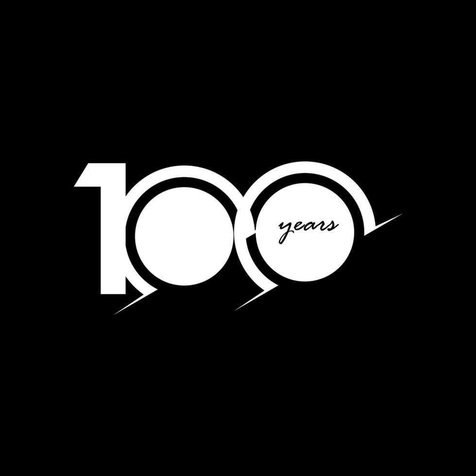 100 anos aniversário comemoração número branco e preto ilustração vetorial de design de modelo vetor