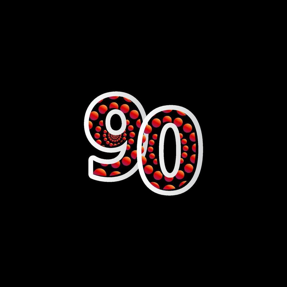 Ilustração do projeto do modelo do vetor do número vermelho da bolha da celebração do 90 aniversário