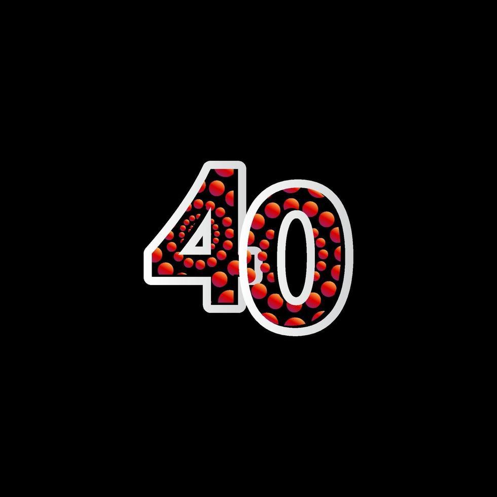 Ilustração de modelo de vetor de número vermelho de bolha de celebração de 40 aniversário
