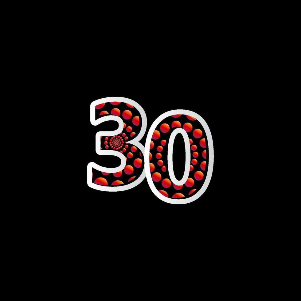 Ilustração de design de modelo de vetor de número vermelho de bolha de celebração de 30 aniversário