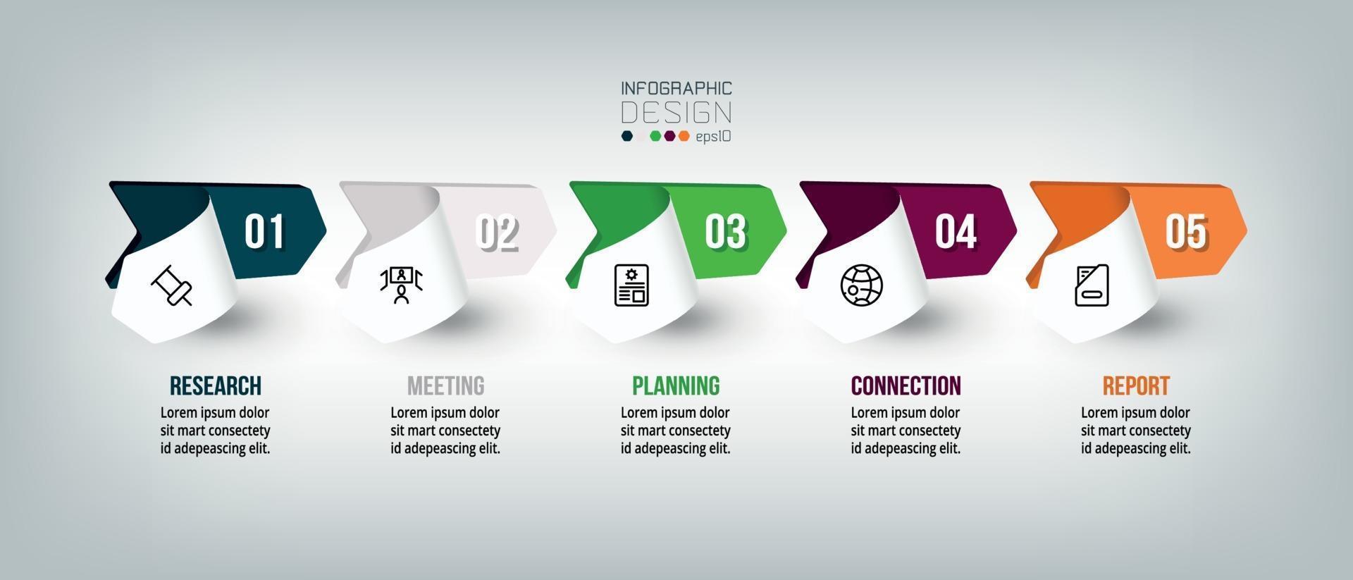 modelo de design de infográfico com etapa ou opção. vetor