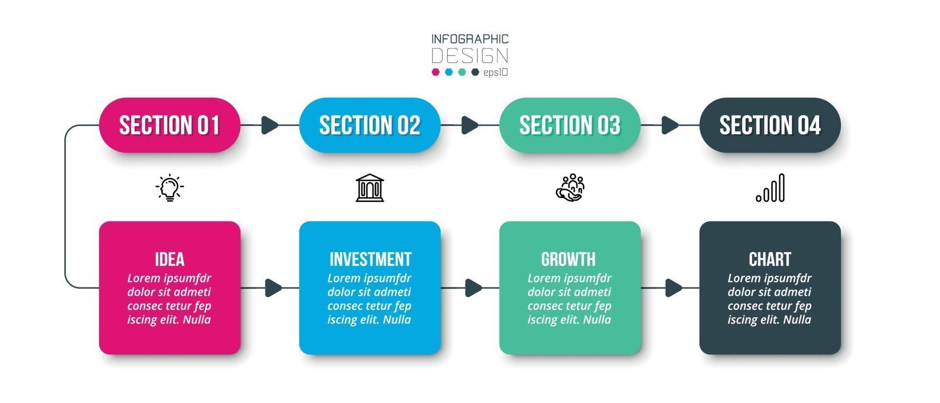 modelo de infográfico de negócios de gráfico de linha do tempo. vetor