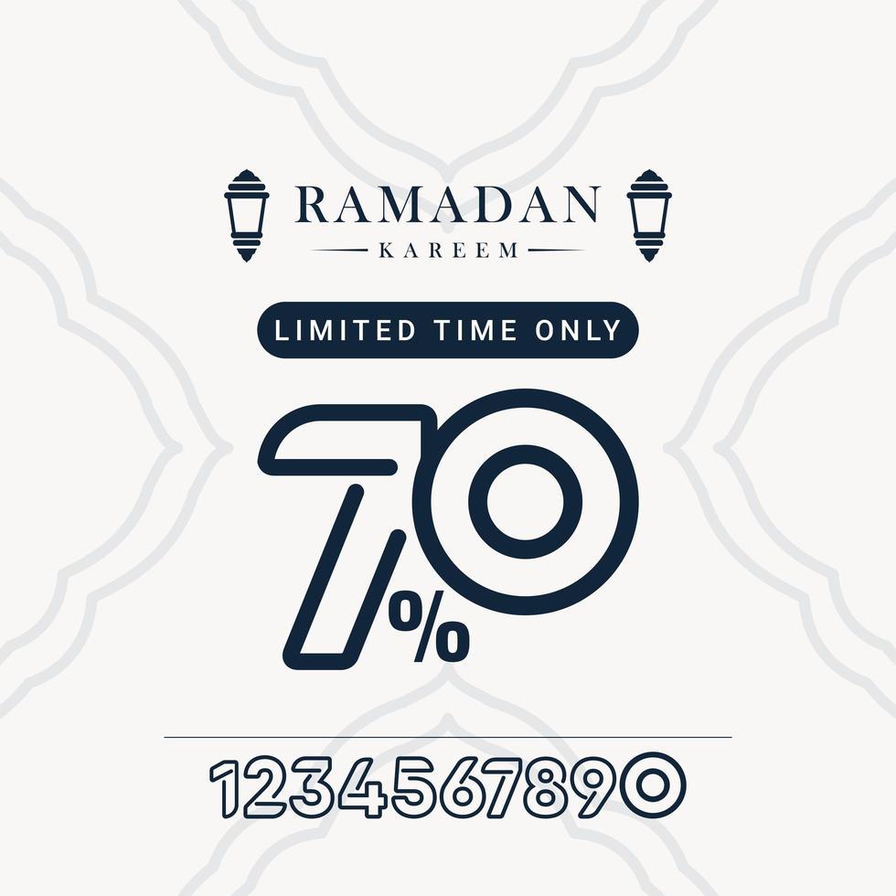 desconto de venda no ramadã até 70 por tempo limitado apenas ilustração de design de modelo vetorial vetor