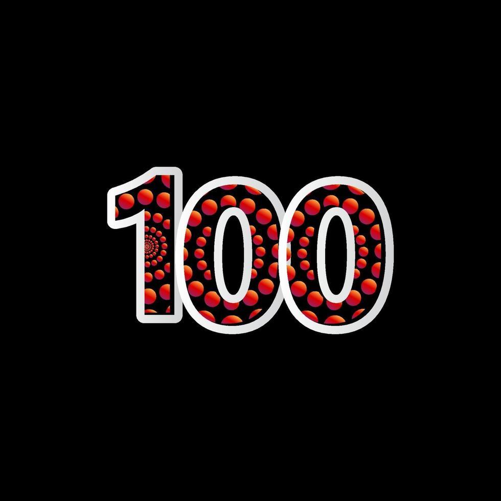 100 aniversário celebração bolha número vermelho ilustração vetorial modelo de design vetor