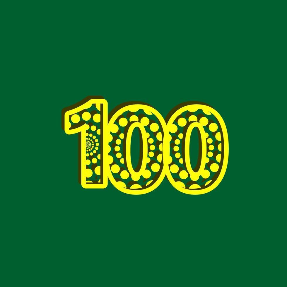 100 aniversário celebração bolha número amarelo ilustração vetorial modelo de design vetor