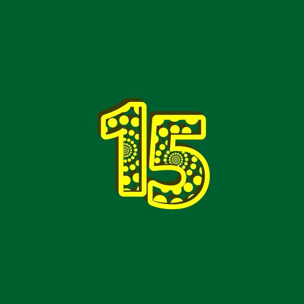 15 º aniversário de comemoração bolha número amarelo ilustração de design de modelo vetorial vetor