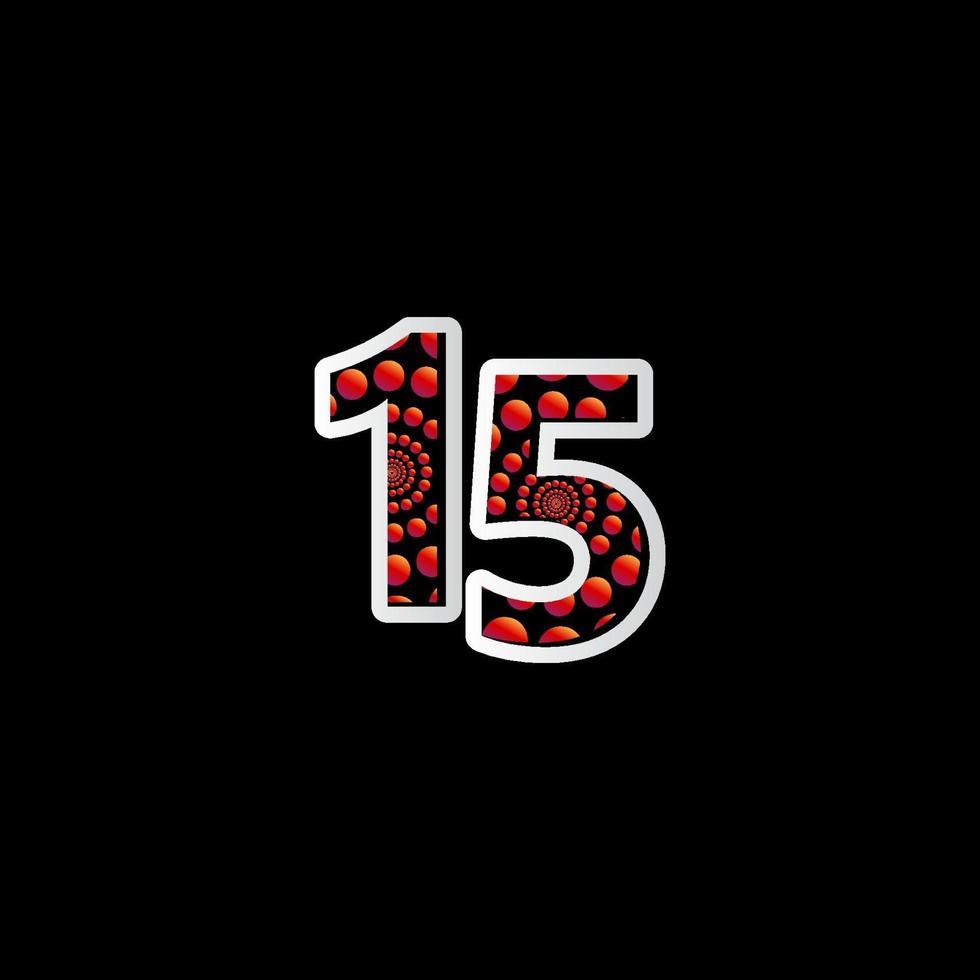 15 º aniversário de comemoração bolha número vermelho ilustração vetorial modelo de design vetor