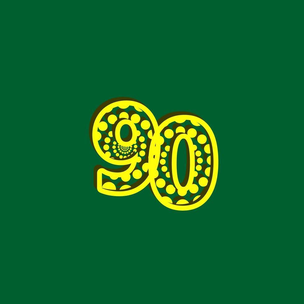 Ilustração de design de modelo de vetor de bolha de celebração de 90 aniversário