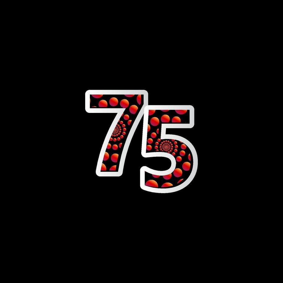 75 º aniversário de celebração bolha número vermelho ilustração de design de modelo vetorial vetor