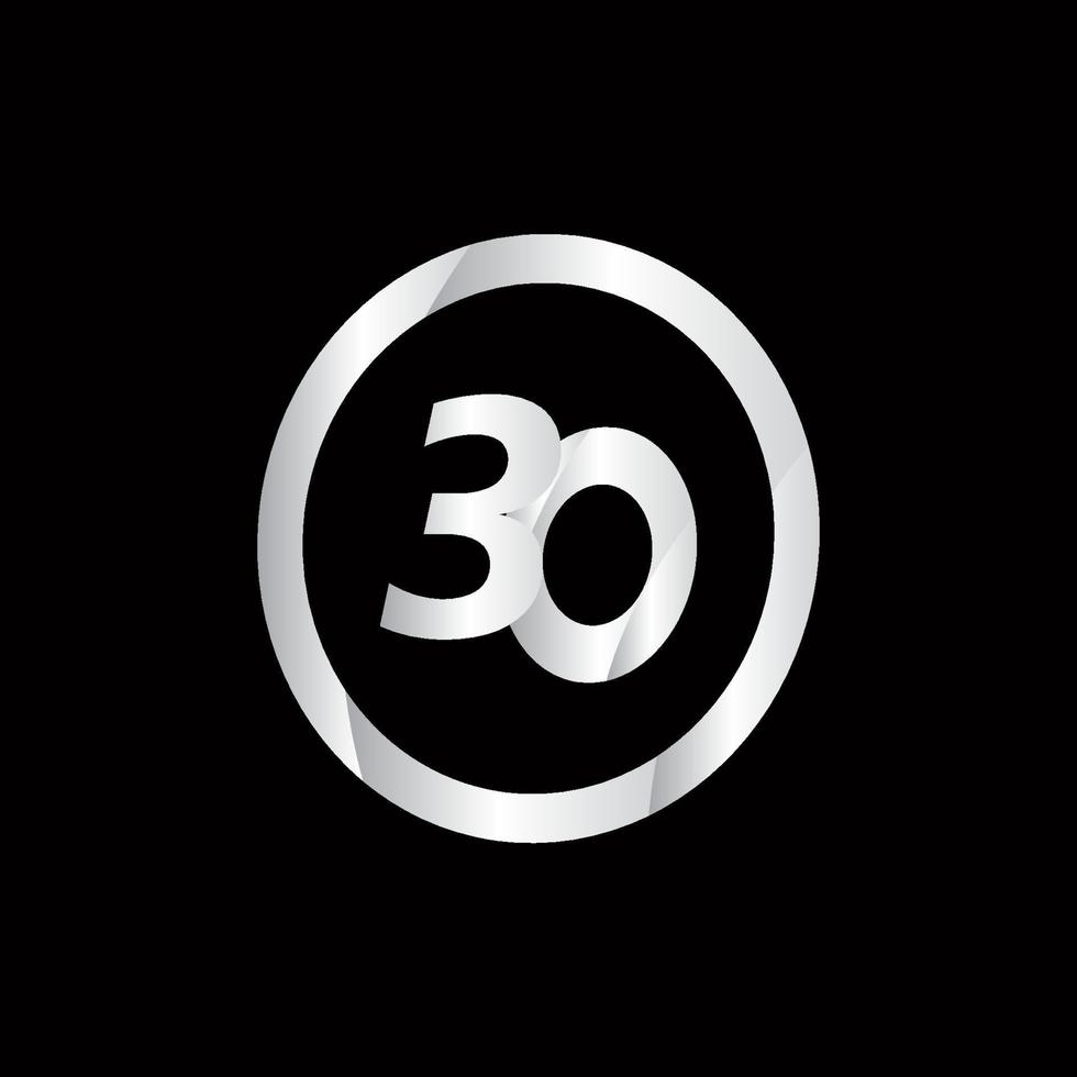 Ilustração de design de modelo de vetor de número de prata de celebração de 30 aniversário