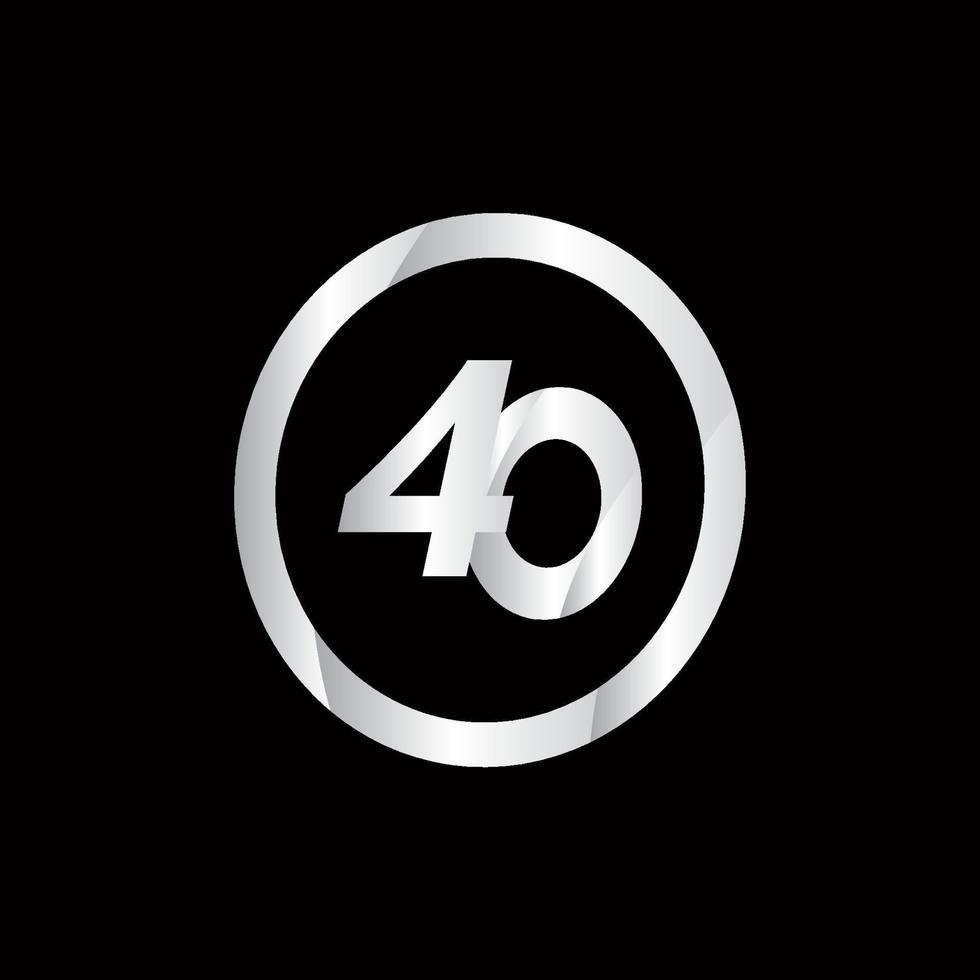 Ilustração de modelo de vetor de número de prata de celebração de aniversário de 40 anos