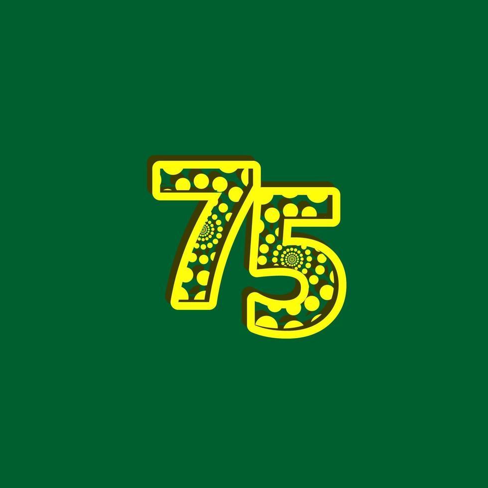 75 aniversário celebração bolha número amarelo ilustração de design de modelo vetorial vetor