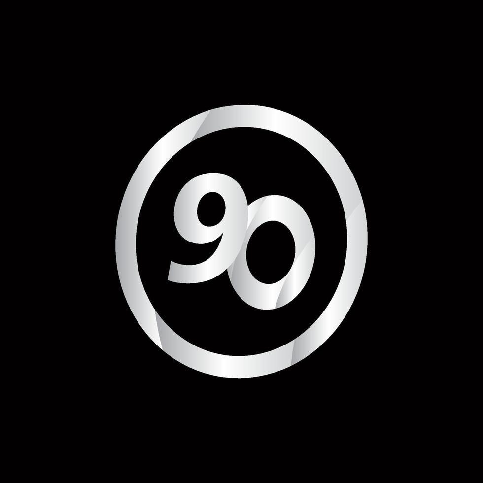 Ilustração do projeto do modelo do vetor do número de prata do círculo da celebração do 90 aniversário