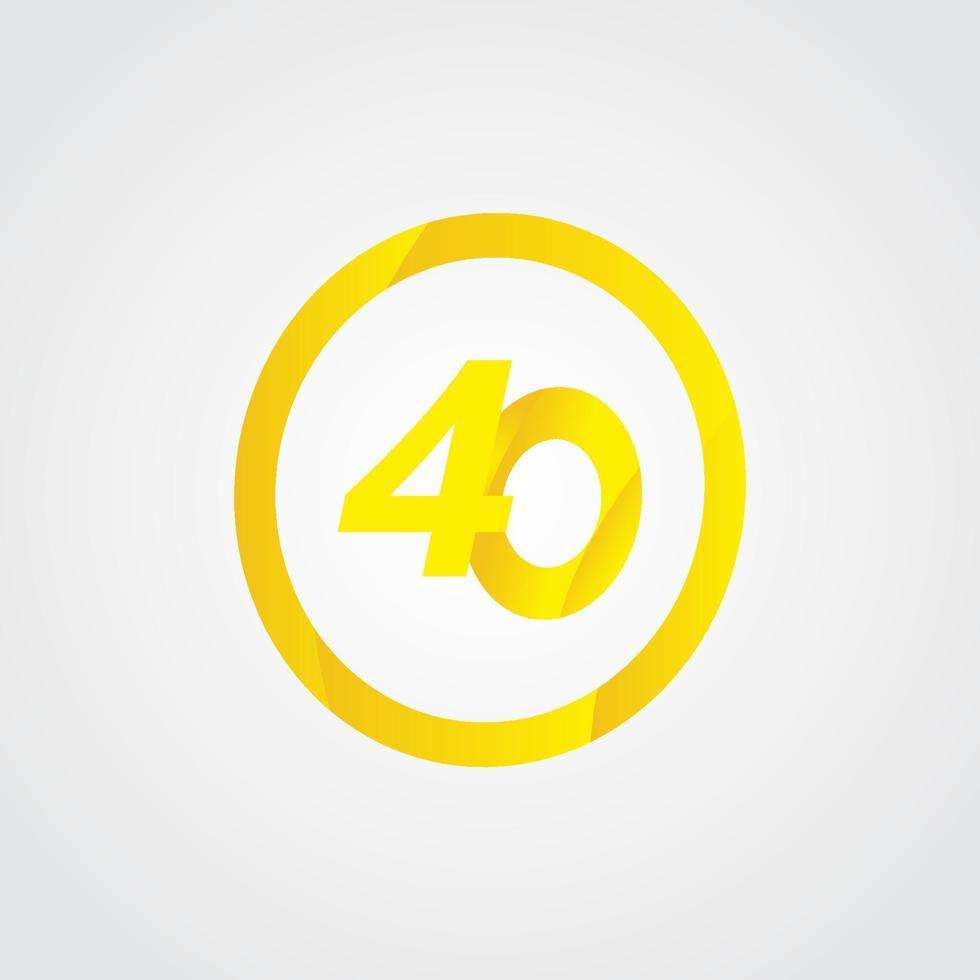 Ilustração de design de modelo de vetor de círculo de celebração de 40 aniversário